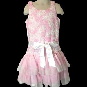 Youth Girls Pink Easter Dress 6X Ruffles New